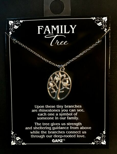 Tree Of Life 3 rhinestone Family Tree Necklace Ganz Metal New Gift 3 members