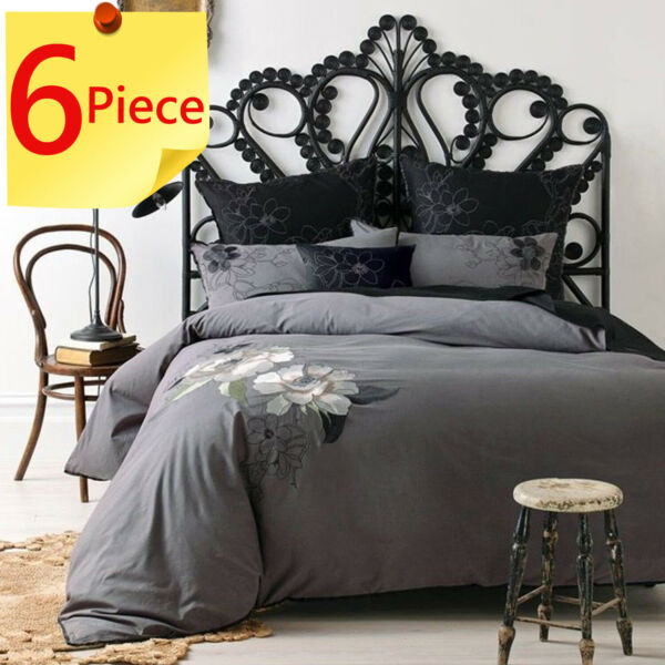 6 Piece Lavinia Charcoal by Linen House Quilt Doona Duvet Cover Set Queen AU $159.95