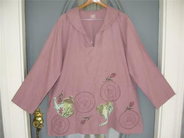 Art to Wear Blue Fish Size 1 Antique Top Spring 1999 $145.00