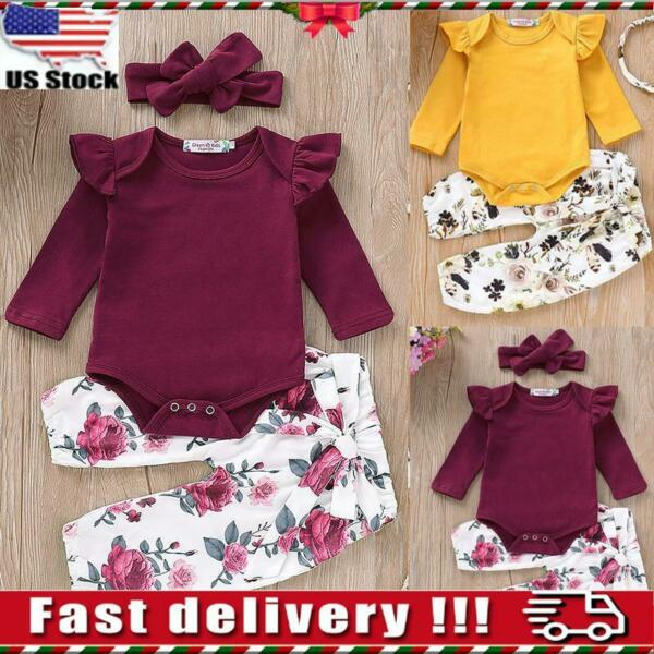 Newborn Baby Girls Ruffle Romper Tops Floral Pants Headband Outfits Clothes Sets $7.99