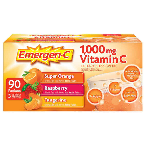 Emergen C Vitamin C 1000mg Variety Mix Supplement 90 Count