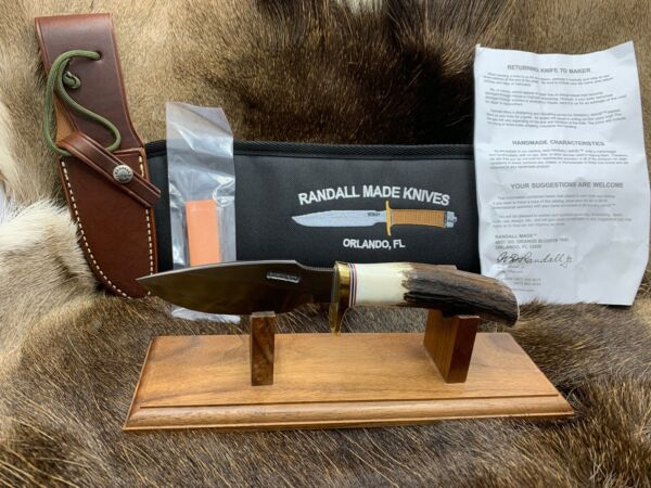 Randall Model 11 CS Alaskan Skinner Knife With Stag Handles Leather Sheath Mint