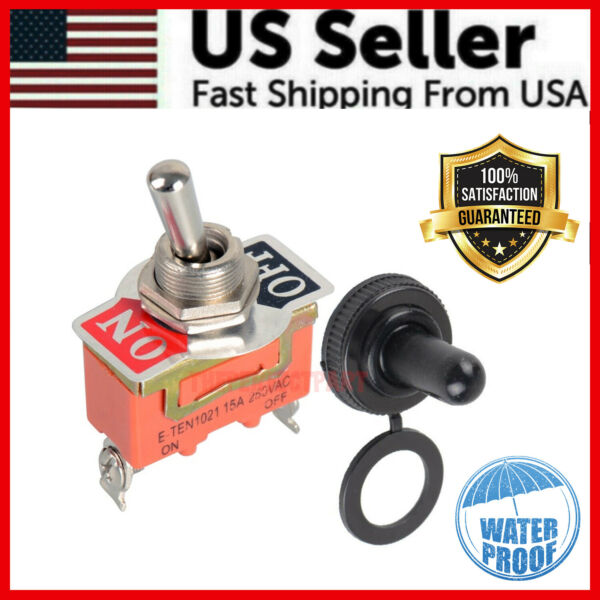 Toggle Switch Heavy Duty 20A 125V SPST 2 Terminal ON OFF Car WATERPROOF ATV USA $3.39