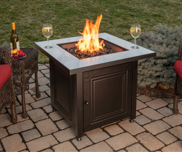 Black Fire Pit Table Fire Glass Patio Heater Concealed LP Tank Cover Burner Lid