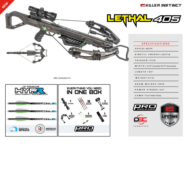 New 2020 Killer Instinct Lethal 405 4x32 Scope Crossbow Package