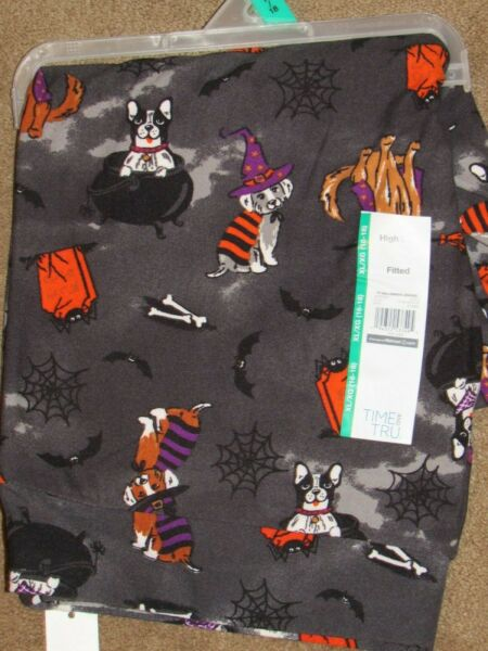 TIME amp; TRU FITTED HIGH RISE LEGGINGS HALLOWEEN DOGS PICK SIZE $15.75