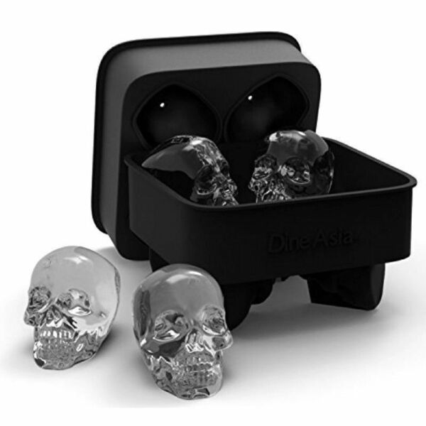 3D Skull ICE Cube Tray Silicone Maker Round Ball Sphere Mold Whiskey Cocktails $5.99