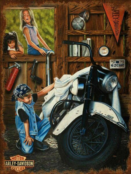 HARLEY DAVIDSON BOY GARAGE BIKE GIRLS HEAVY DUTY USA MADE METAL ADVERTISING SIGN $60.00