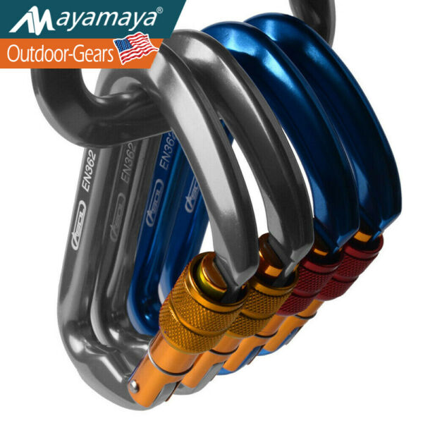 30KN Aluminum Carabiner Hooks Rock Climbing Heavy Duty Clip Screwgate Tree Large $11.99