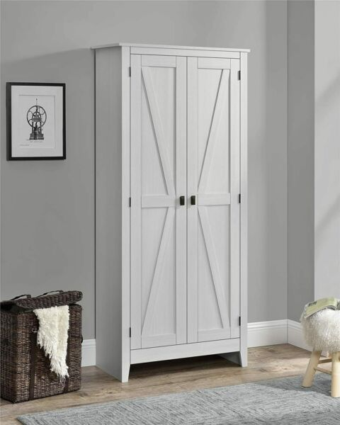 Rustic Off White Farm Barn Door Storage Cabinet Shabby Large 72quot; Kitchen Pantry