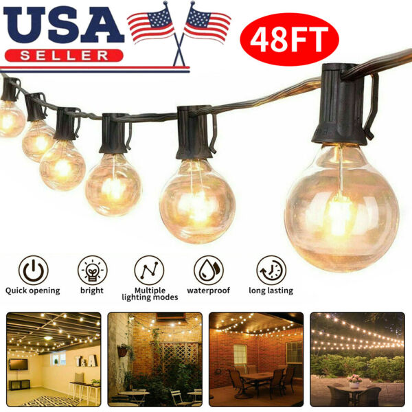 48FT Outdoor Patio Waterproof String Lights Commercial Backyard Garden Lights US $35.99