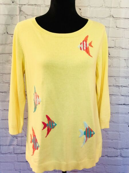 TALBOTS Petites Yellow 3 4 Sleeve Sweater Top With Tropical Fish Size PM $14.00