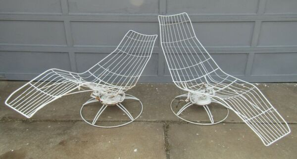 Vintage Pair Mid Century Modern Homecrest Patio Chaise Lounges $600.00