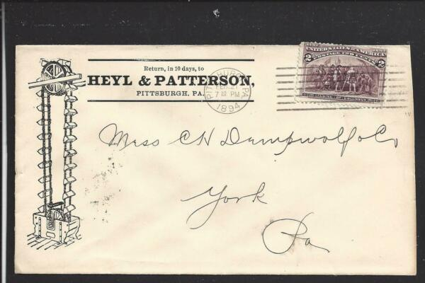 PITTSBURGHPENNSYLVANIA.1894 COLUMBIAN COVER. ADVT: HEYL amp; PATTERSON.