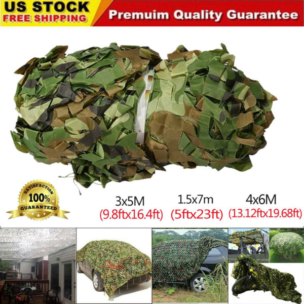 Woodland Camouflage Netting Military Army Camo Hunting Shelter Hide Cover Net US