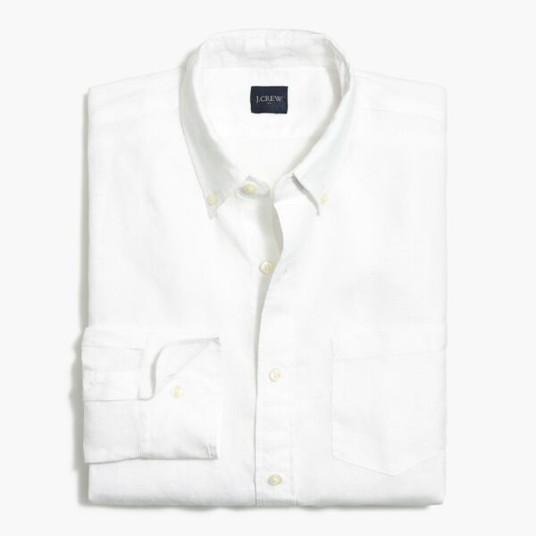 J Crew Mens L Slim White Linen Cotton Shirt Long Sleeve $28.83