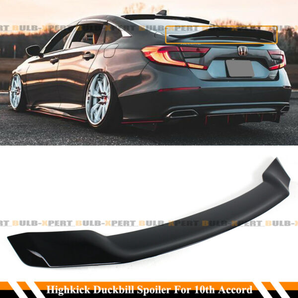 FOR 2018 2020 HONDA ACCORD JDM V2 HIGH KICK BLACK PEARL DUCKBILL TRUNK SPOILER