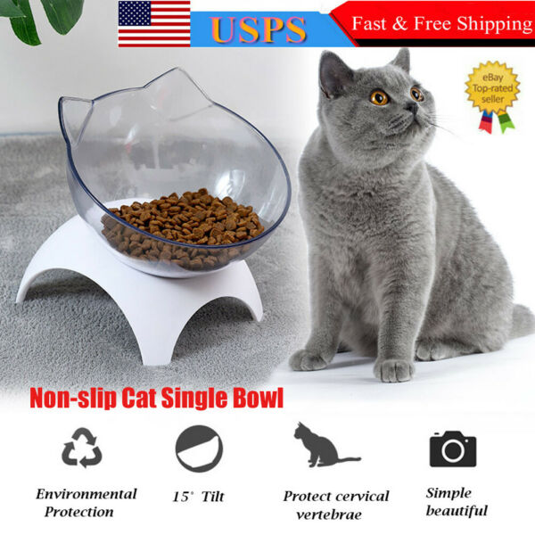 Non slip Cat Double Bowls Pet Food Water Bowl Cats Dog Feeder with Raised Stand $12.99