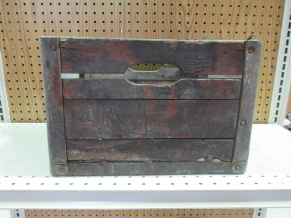 Antique 1940#x27;s WOOD amp; METAL MILK DAIRY CRATE Sunny Hill Dairy Cape Girardeau Mo