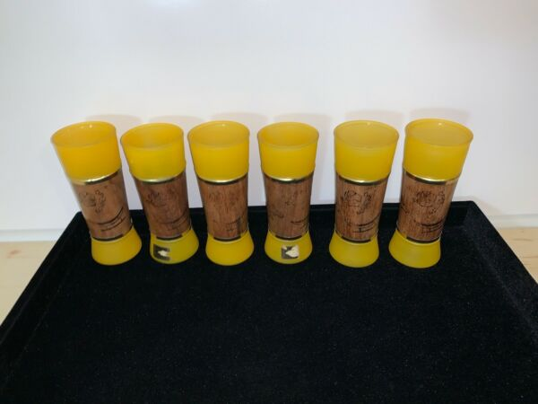 Siesta Ware Frosted Amber Tiki Tumbler Mahogany Wrapped Bar Glasses Tall 1960s $99.00