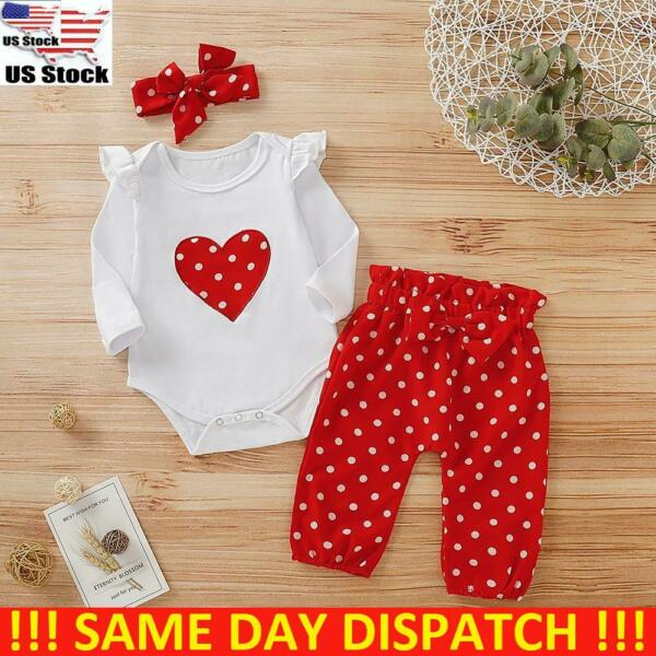 Newborn Infant Baby Girl Romper Jumpsuit Tops Pants Headband Outfits Clothes Set