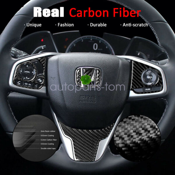 Real Carbon Fiber Steering Wheel Cover Trims Fit for Honda Civic 10th 2016 2020 $10.89