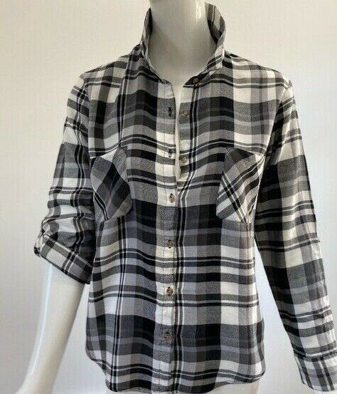 Ambiance Small Long Sleeve Black and White Flannel