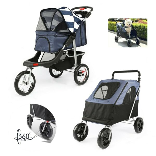3 4 Wheels Pet Stroller Cat Dog Travel Carrier Jogging Stroller Foldable Carrier $116.99
