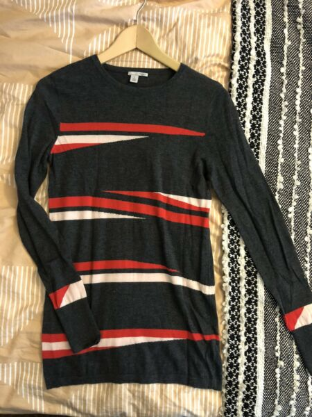 Halogen Gray Red Sweater Size XS
