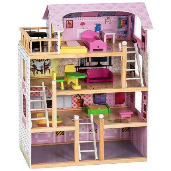 Doll Cottage Dollhouse w Furniture Kids Wood House Playset Children Gift Toy