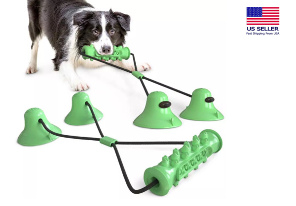 Dog Molar Bite Chew Toy Dog Tug Rope War Chew Toy Tooth Clean Suction Cup Green $12.45