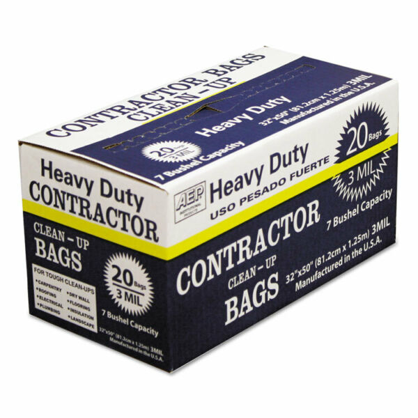 AEP Industries Heavy Duty Contractor Clean Up Bags 55 60 gal 3 mil 32 x 50 Black $21.56