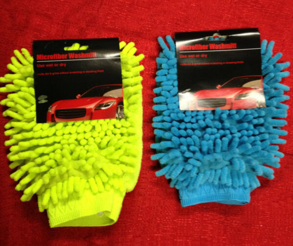 Microfiber Car Wash Cleaning Mitt Glove Blue or Green Easy to wash or dry NEW $7.89