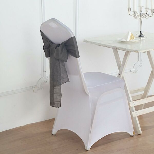 5 CHARCOAL GRAY CHAIR SASHES Premium Polyester Faux Burlap Wedding Decorations