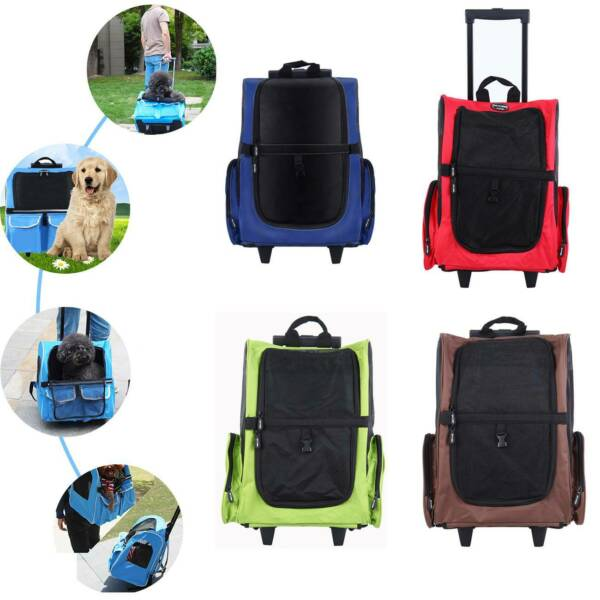 Pet Travel Carrier Backpack Dog Cat Rolling Wheel Luggage Bag Airline Approved $32.78