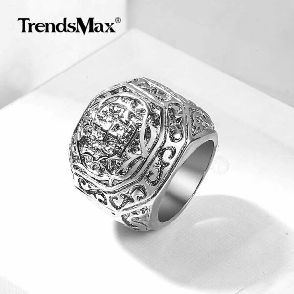 Men#x27;s Ring 316L Stainless Steel Carved Cross Band Ring Punk Retro Size 8 13 $9.49