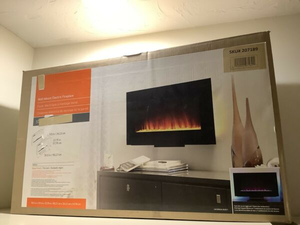 Wall mount Electric Fireplace Black Finish