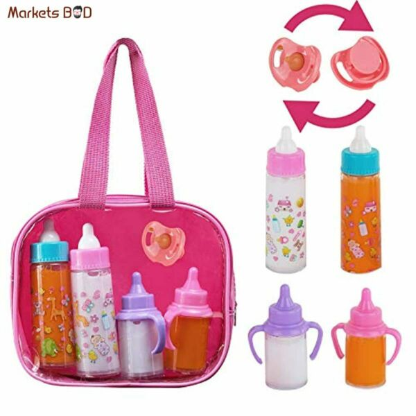 4 Piece Doll Feeding Set for Toy Stroller 2 Milk Juice Bottles with Toy Pacifier $17.99