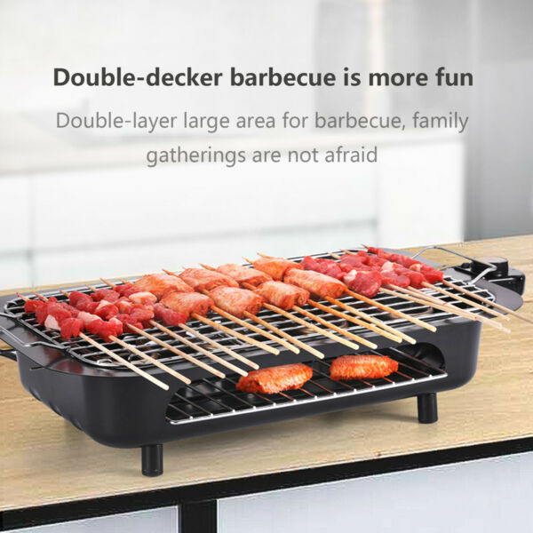 Electric BBQ Grill Portable Smokeless Indoor Outdoor Smokeless Barbeque Grill