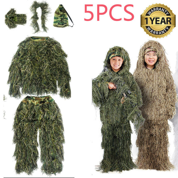 Ghillie Suit for Kids Adult Camouflage Suit 3D Leafy Hooded Camouflage Clothing