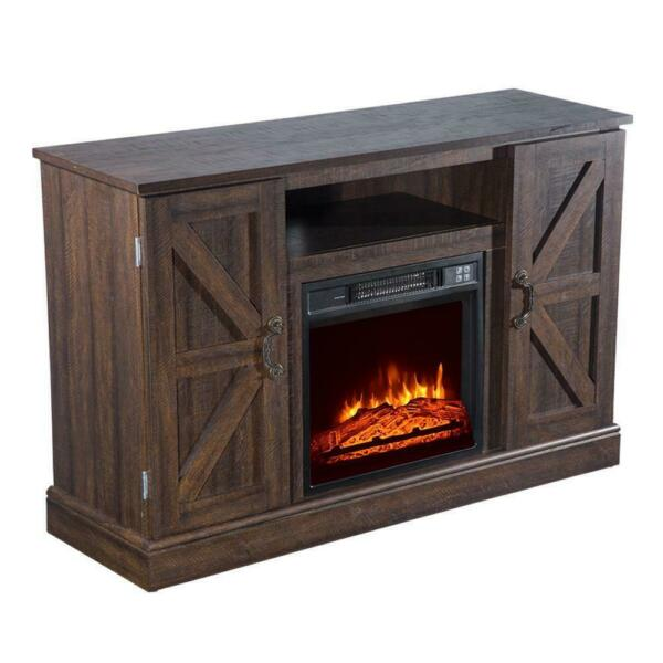 47quot; 1400W Built in Wood Cabinet Electric Fireplace Heater Timer amp; Remote Control