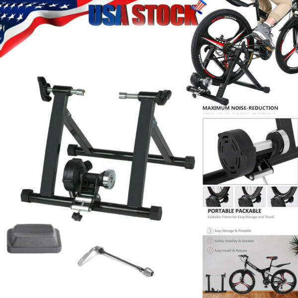 """Bike Trainer Stand Magnetic Bicycle Stationary Stand For Indoor Exercise 24 28"""" $77.79"""