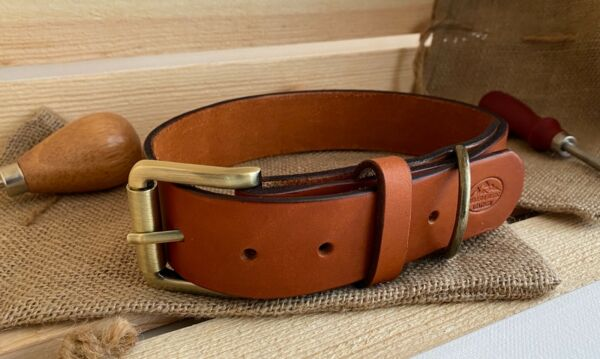Large Dog Leather Collar Tan and Veg Tan Leather Nickel and Antique Finish. $22.50