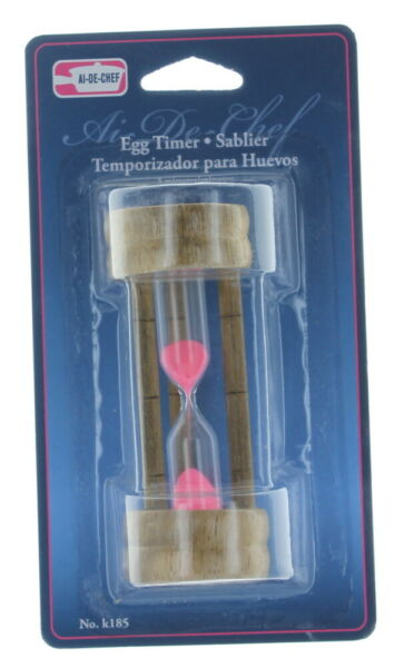 3 Minute Hourglass Wood Glass Sand Timer For Kitchen eggs and timeouts $7.99