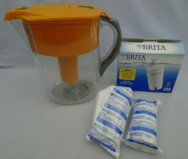 Brita® Pitcher Water Filter System Easy Pour Lid Large 10 Cup Orange Filters