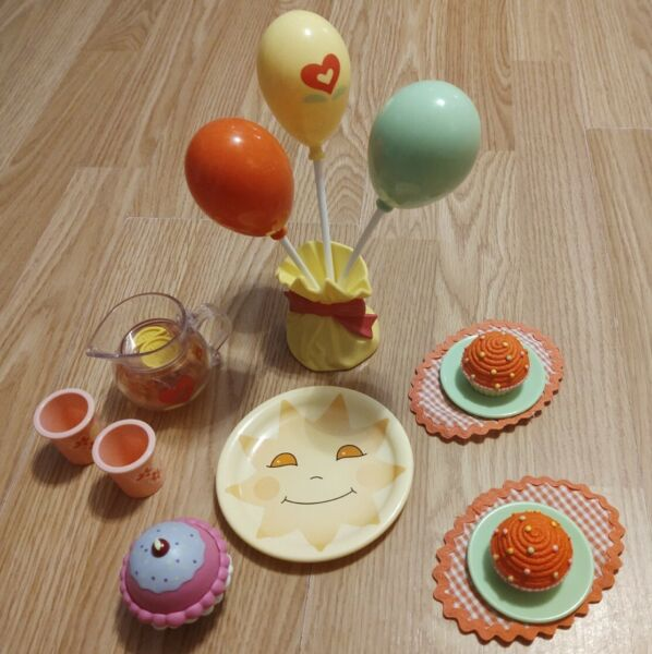 American Girl Bitty Baby Cupcake Birthday Party Set With Puzzle Cupcake Extra