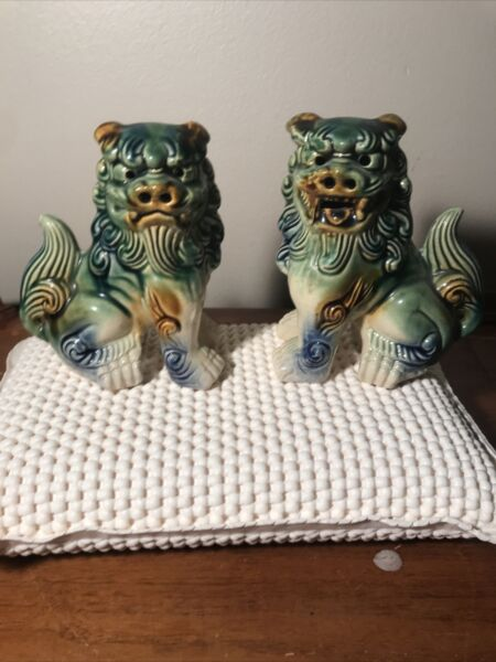 "A Pair of Vintage Asian Imperial Lion Dogs Ceramic Pottery Mint 5"" Tall $125.00"