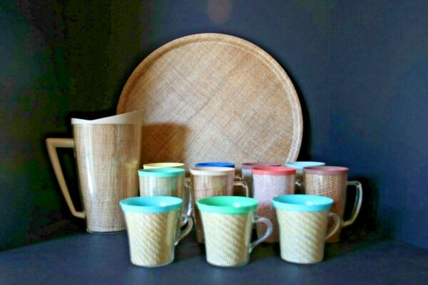 Vintage Raffiaware burlap Set Pitcher Mugs Tumblers with Handles and Tray