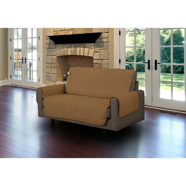 Camel Microfiber Loveseat Pet Protector Slipcover with Tucks and Strap $42.01