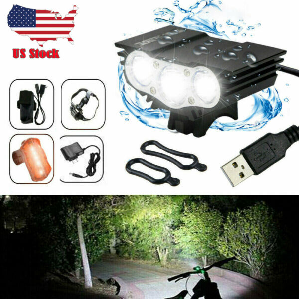 Rechargeable Mountain Bike Lights battery Bicycle Torch Front amp; Rear Lamp Set US $20.89